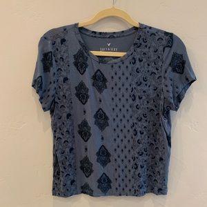 AEO Soft & Sexy Boho Print Cropped Tee Shirt L
